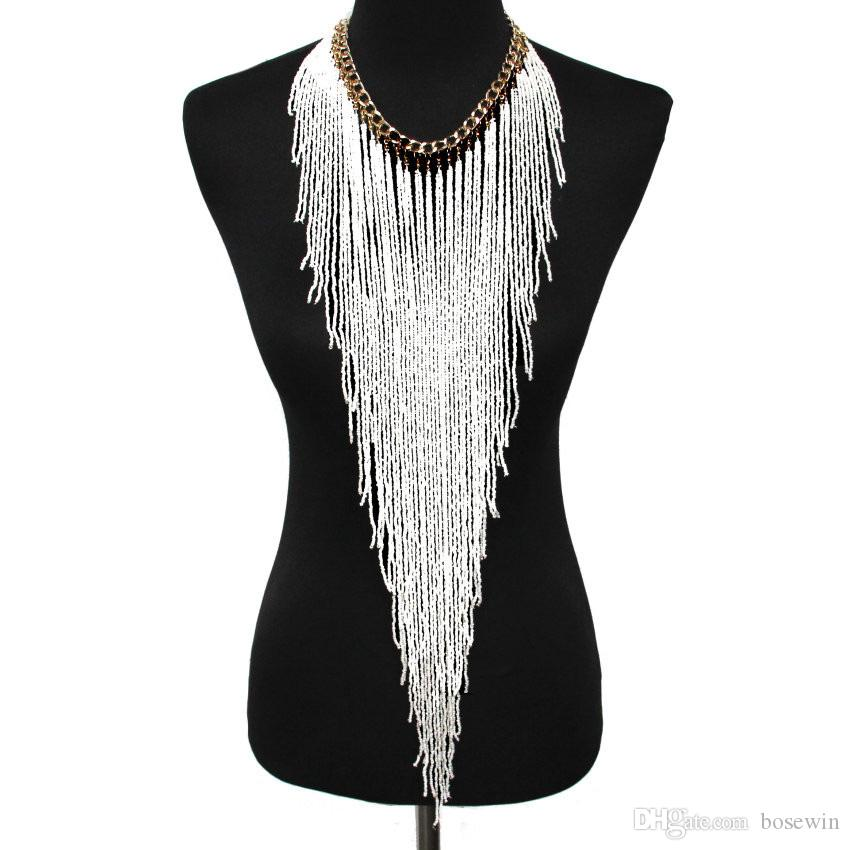 Bohemian Style Design Women Fashion Charm Jewelry Resin Bead Handmade Long Tassel Statement Link Chain Choker Necklace
