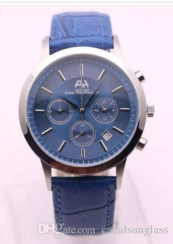 7types new brand aehibo watches men blue face silver case blue leather watch quartz vk mechanical super chronograph watch menu0027s watches watches for