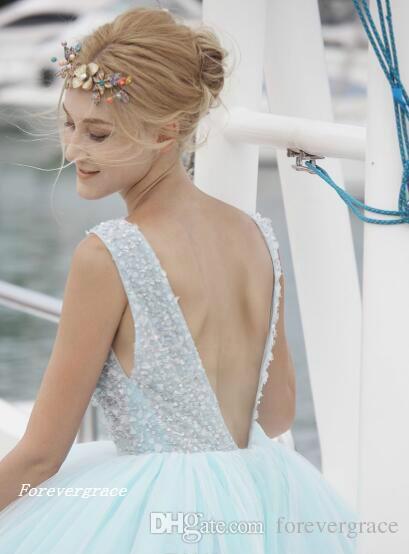 Mode Sud Africaine De Glace Bleu Sexy Robe De Bal Col En V Dos Nu Long Formelle Robe De Soirée Sur Mesure Plus Taille