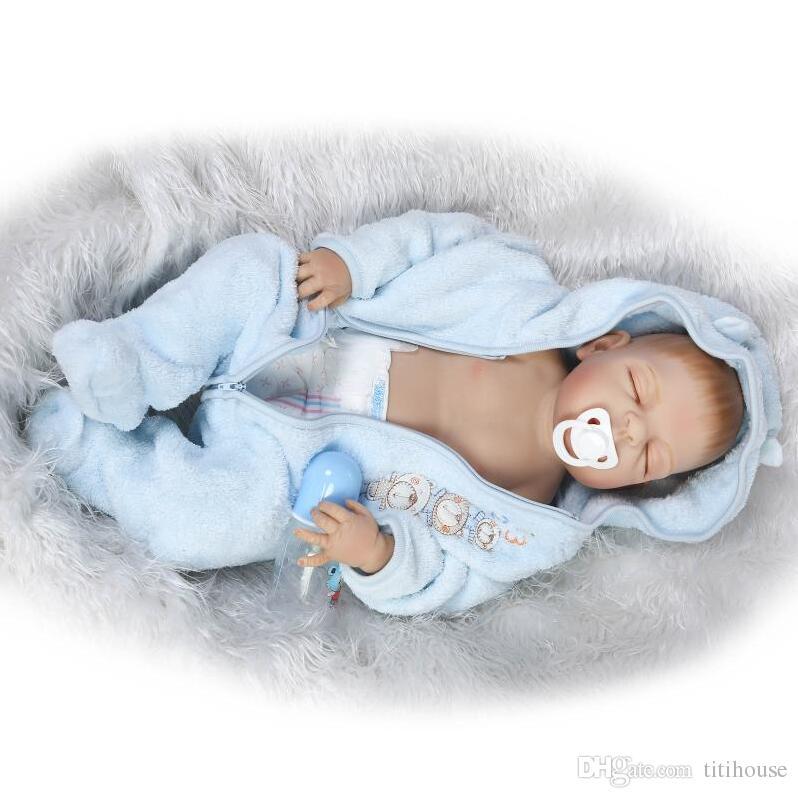 New 23 Inch/57cm Boy Gender Full Silicone Body Reborn Baby Dolls Baby reborn Children Toys Bonecas