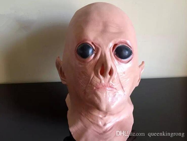 Realista UFO Alienígena Cabeça Máscara de Látex Cosplay Creepy Saucer Man Cara Cheia de Halloween Máscara Do Partido Horror Fantasma Traje Máscara