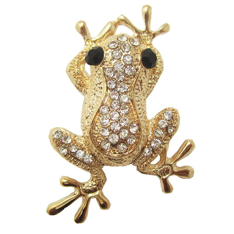 Wholesale- Cute Boys Animal Brooches for girls Christmas Gift Gold Plated Frog Shate Carve Full Shining Rhinestone Brooch pins for women