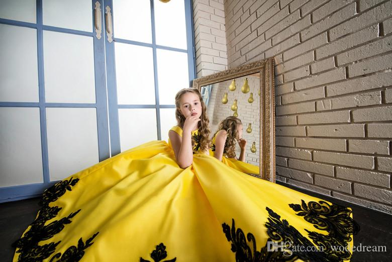 New Pageant Princess Satin Lace Applique Party Prom Dress Children Kids Long Little Girls Pageant Dresses Yellow Size 8 10 12