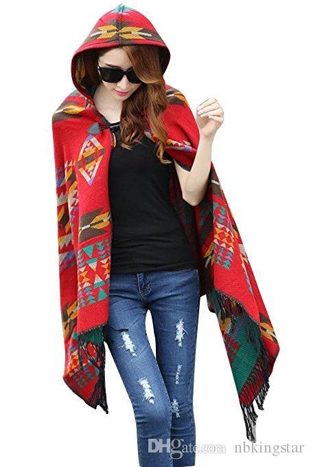 Women Winter Aztec Hooded Tassel Ethnic Boho Jacquard Button Poncho Cape Acrylic Wool Shawl