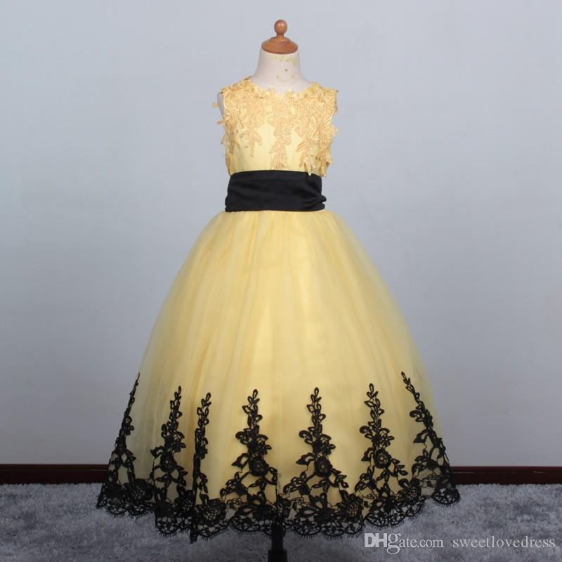 Yellow Ball Gown Flower Girl Dresses With Lace Edge Christmas ...