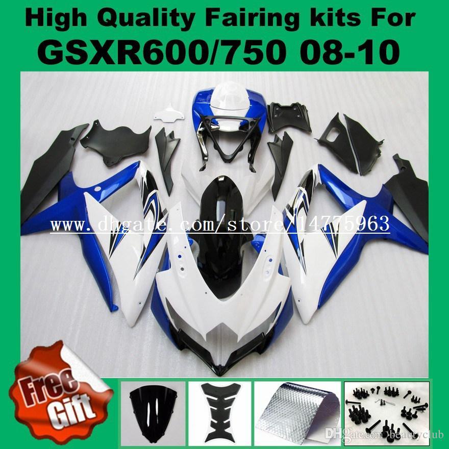 Обтекатели впрыска для SUZUKI GSXR600 GSXR750 08 09 10 GSX-R600 GSX-R750 2008 2009 2010 K8 K9 обтекатель комплекты синий белый черный +9gifts