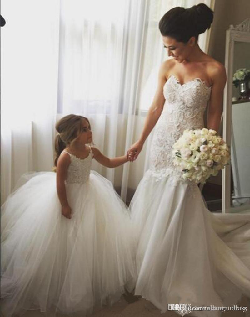 Puffy Dresses for Kids Prom 2017 Vestidos Para Meninas Spaghetti Straps Ball Gown White Tulle Flower Girl Dresses