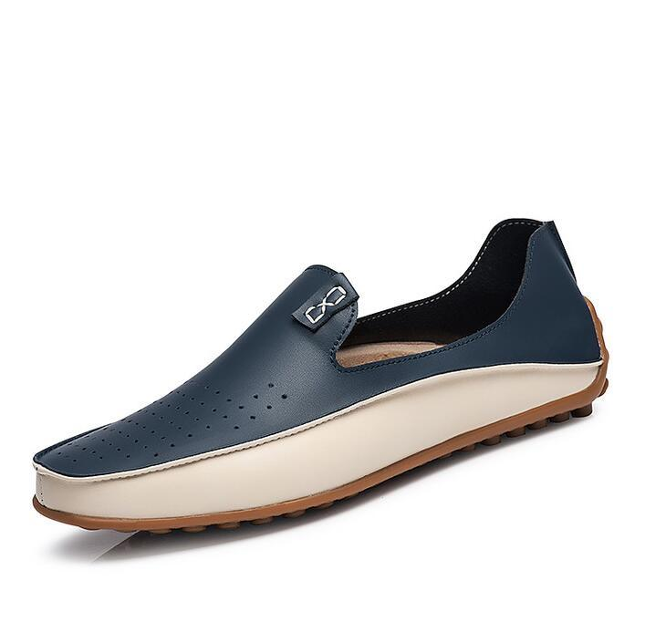 Mens Sports Star Non-Slip Breathable Loafer shoes Leather Flat Sneakers