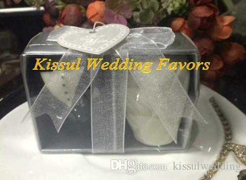 Cheapest Gift Bride and Groom Salt and Pepper Shakers For black and white Wedding favors Party decorations =12boxes