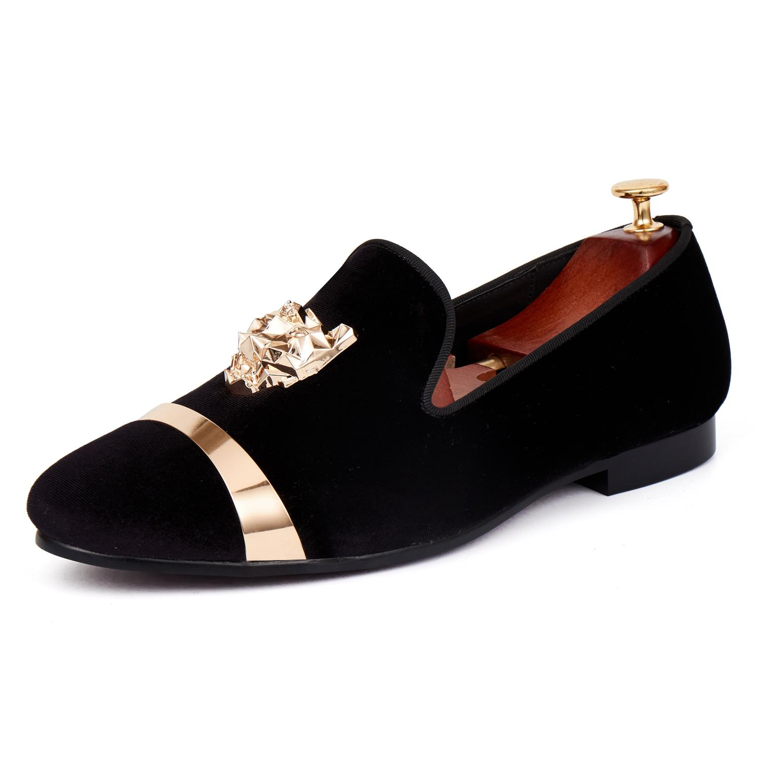 Harpelunde Gold Plate Men Dress Shoes Animal Buckle Flats