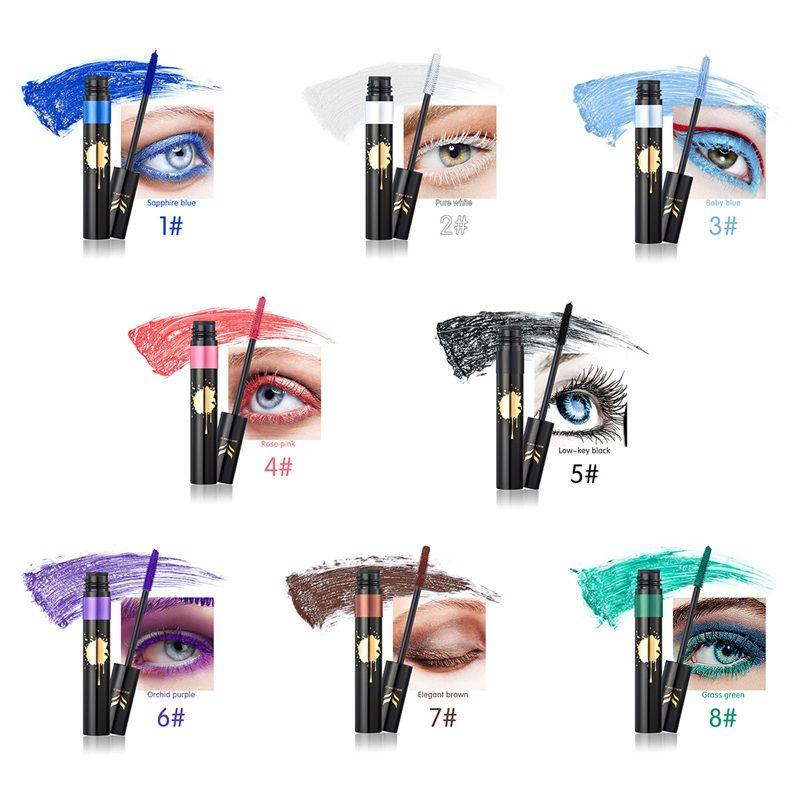 Arc-en-ciel Coloré Mascara Professionnel Cils Cils Curling Mascaras Épais Allongement Dense Cosmétiques Imperméables 1218006