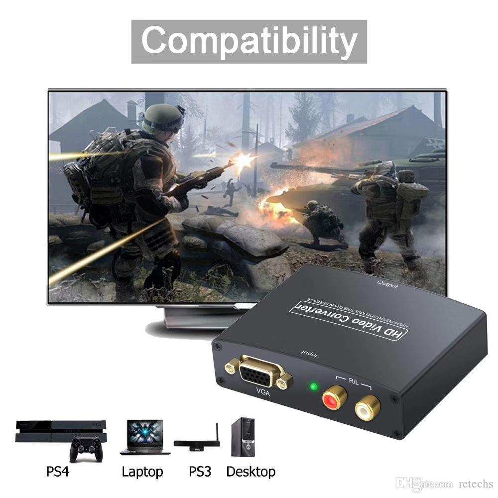 New VGA w/Audio to HDMI 1080p UP Scaler Converter Box w/USB DC Power for TV