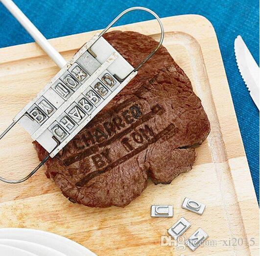 Carne de churrasco de ferro em brasa com letras mutáveis Personalidade Bife Carne Churrasco Ferramenta de churrasco Mutável 55 Letras