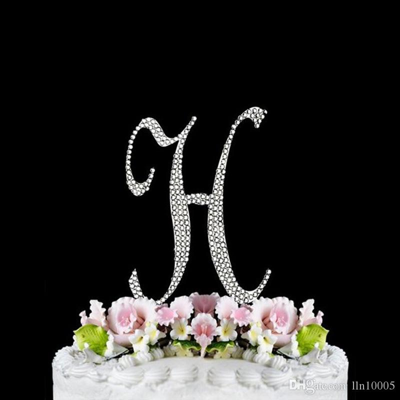 Party Supplies Monogram Letter H Initial Wedding Cake Topper Rhinestone Silver Metal Decorations