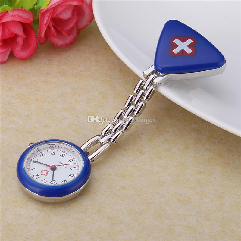 Coole mode roestvrij stalen verpleegster horloge werken horloges arts colorfull driehoek verpleegsters kruis patroon vrouwen mooie klok