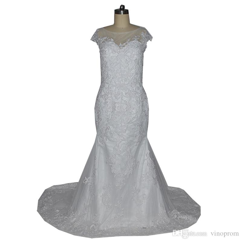 Vinoprom Vestidos De Festa Curto Real Photo Mermaid Short Sleeves Scoop Lace Wedding Gown Bridal Dresses 2018