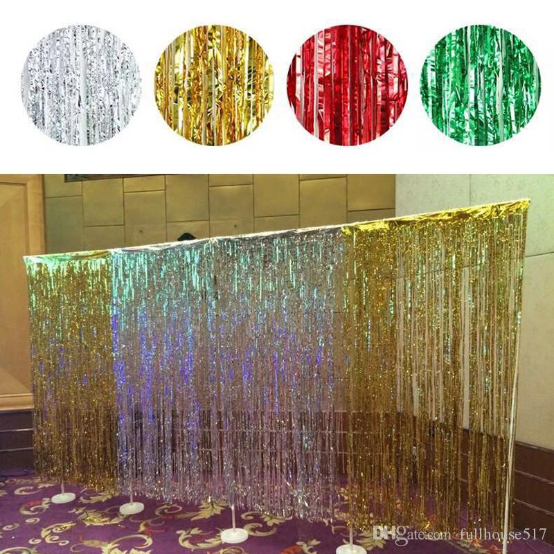 Plastic Tinsel Foil Fringe Curtains Door Window Curtain Photo Booth Background Backdrops For Party Prom Birthday Wedding Event Decorations