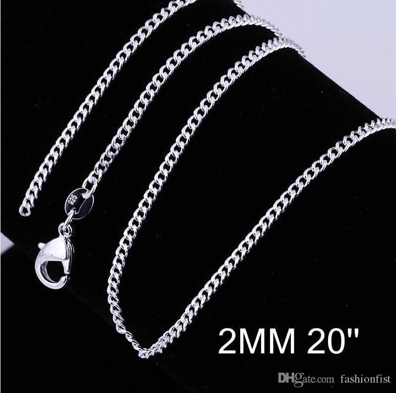 Fashion 925 Sterling Silver 2mm Curb Chain Necklace Men Lobster Clasps Chains Jewelry 16 18 20 22 24 26 28 30 Inches