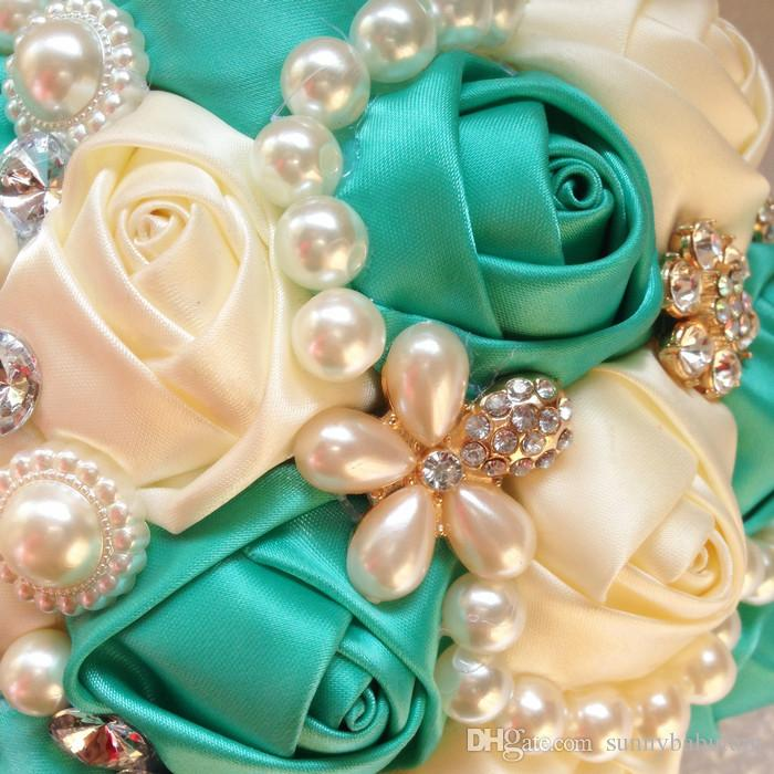 Blue Ivory Satin Ribbon Wedding Bouquets Pearls Artificial Flowers Rhinestones Crystal Sweet 15 Quinceanera Bouquets W257-1