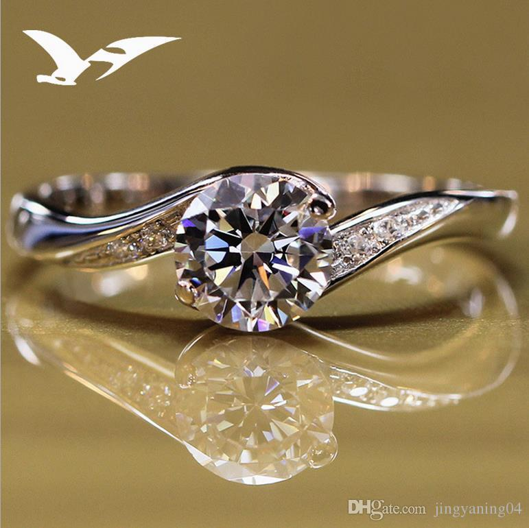 2019 New Sterling Silver Artificial Diamond Ring Diamond Wedding