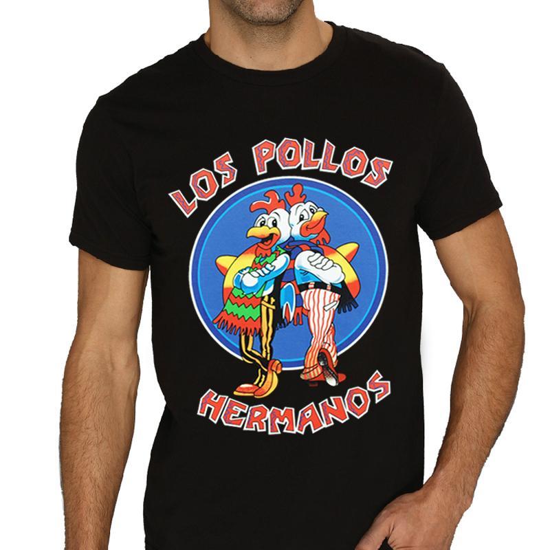 75d12bac8b Compre Al Por Mayor Mens Los Pollos Hermanos Breaking Bad Chicken Brothers  Camiseta Negra Camiseta De Los Hombres Camiseta De Los Hombres Camiseta  Suelta ...
