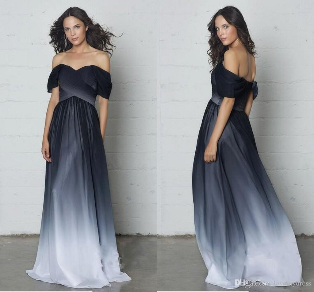 53202dee6afa1 2019 Boho Gradiant Evening Formal Dresses For Women Off The Shoulder Chiffon  Black White Empire Pleated Long Cheap Party Prom Dresses Occasion Dresses  Uk ...