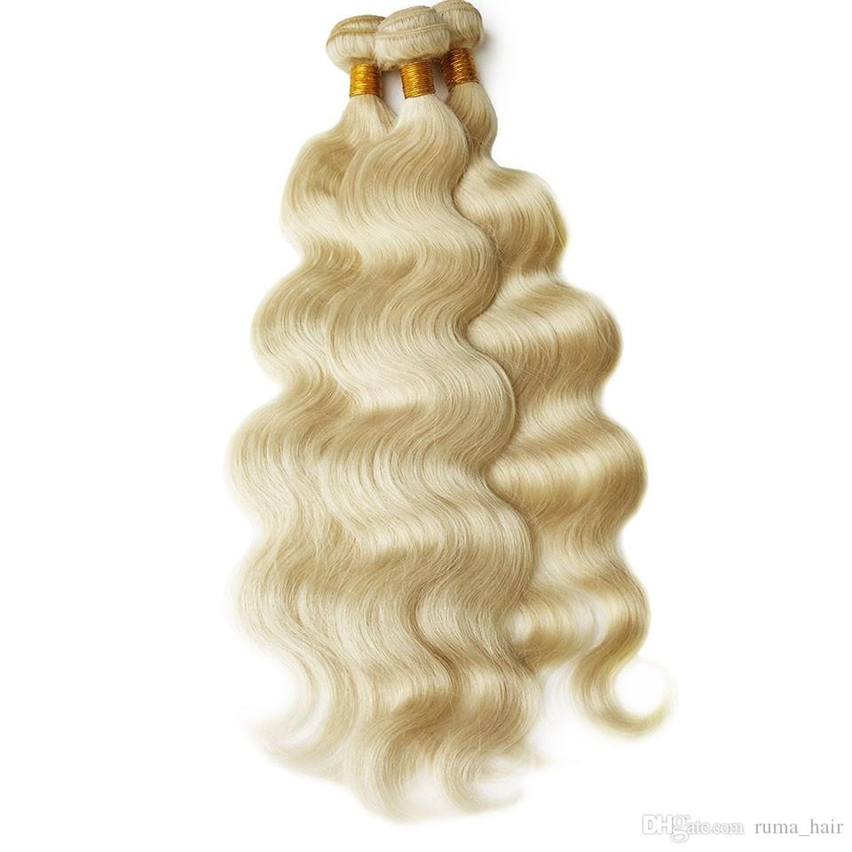 Pre Plucked 360 Lace Frontal Closure With Bundles #613 Platinum Blonde Body Wave Indian Virgin Human Hair Weaves With 360 Lace Band Frontals