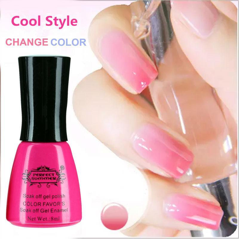 Wholesale- Perfect Summer Nail Gel Polish LED UV Soak off Long Lasting Gel Lacquer 8ml Temperature Color Change Gel Varnish