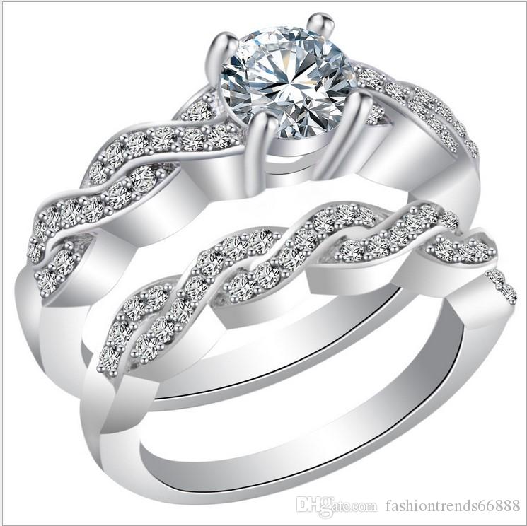 Fashion White Gold Fill Silver Ring Lover Engagement Ring Finger