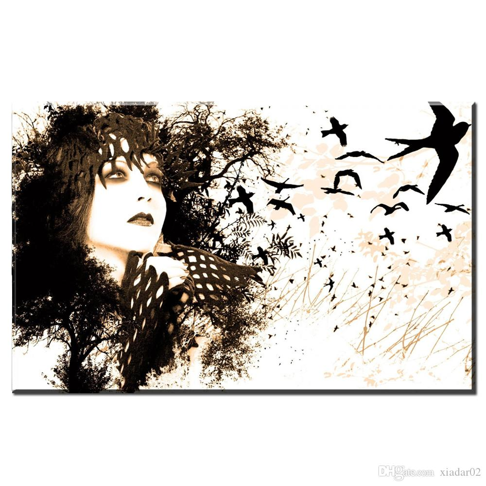 ZZ1738 black and white canvas wall art abstract girl canvas pictures oil art painting for livingroom bedroom decoration unframed