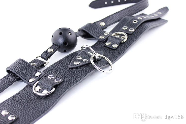 High Quality collar Collar Mouth Gag Leather Chastity Belt Adult Novelty Ball Gag Chastity belt harness Binder Slave Fetish sex toy sex