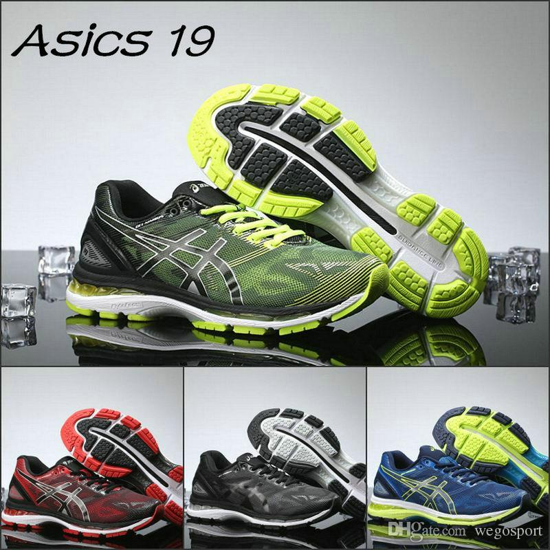 the latest dfc28 67744 2019 Asics Gel-Nimbus 19 T700N Mens Running Shoes Black Green Blue Red New  Designer Shoes Men Women Sneakers Eur 40-45