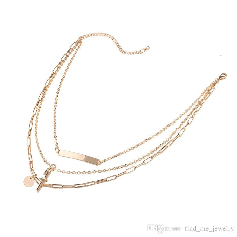 Punk Cross Multi-Layer Chokers Necklaces Vintage Ethnic 2017 Elegant Gift Fashion Jewelry Statement Necklace for Women Accessories Wholesale