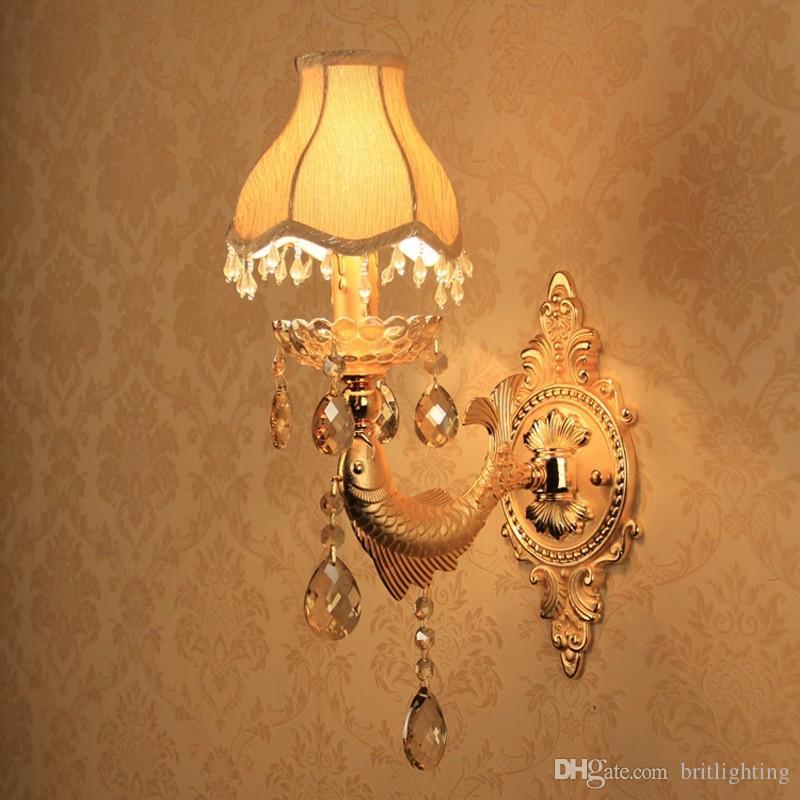 проводные настенные светильники гостиная одностеночный свет ванная комната современный бра освещение ткань поверхностный настенный светильник спальня