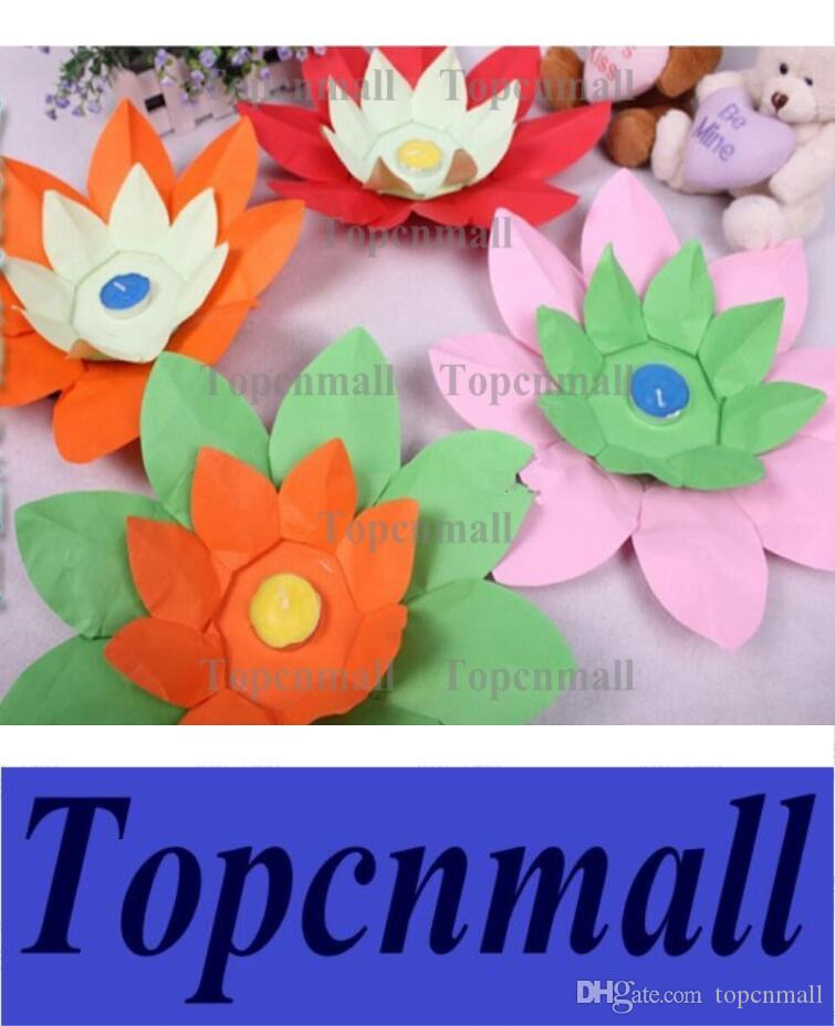 2019 Hot Sell Paper Flower Lotus Wish Lantern Water Floating Candle