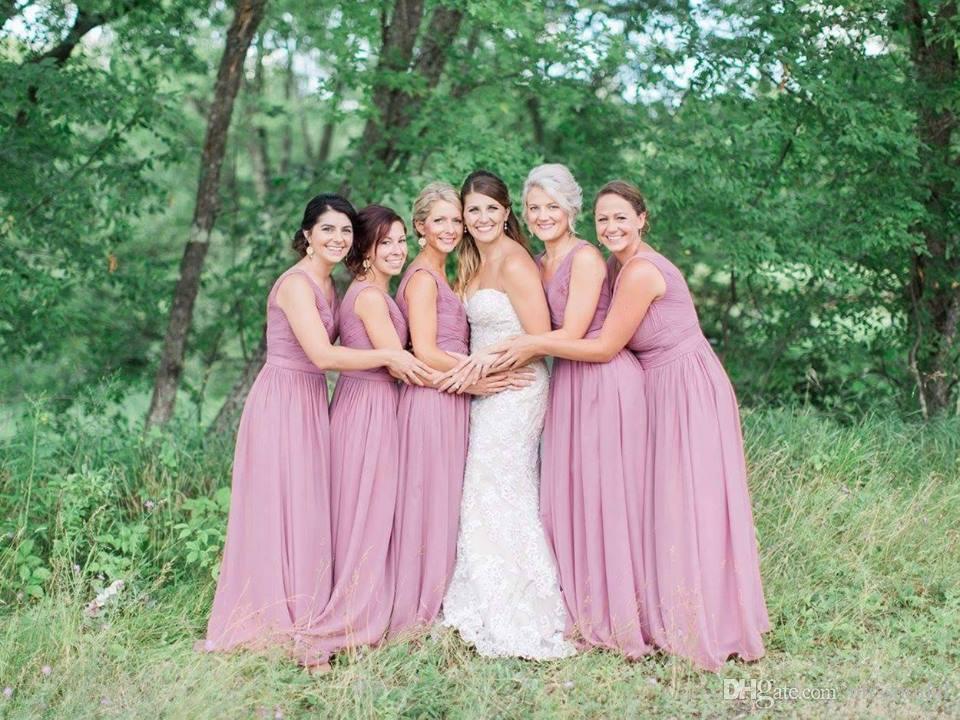 2017 Cheap Bridesmaid Dress V-Neck Purple Chiffon Formal Gown Floor Length Pastels Custom Made A-Line Bridesmaids Dresses