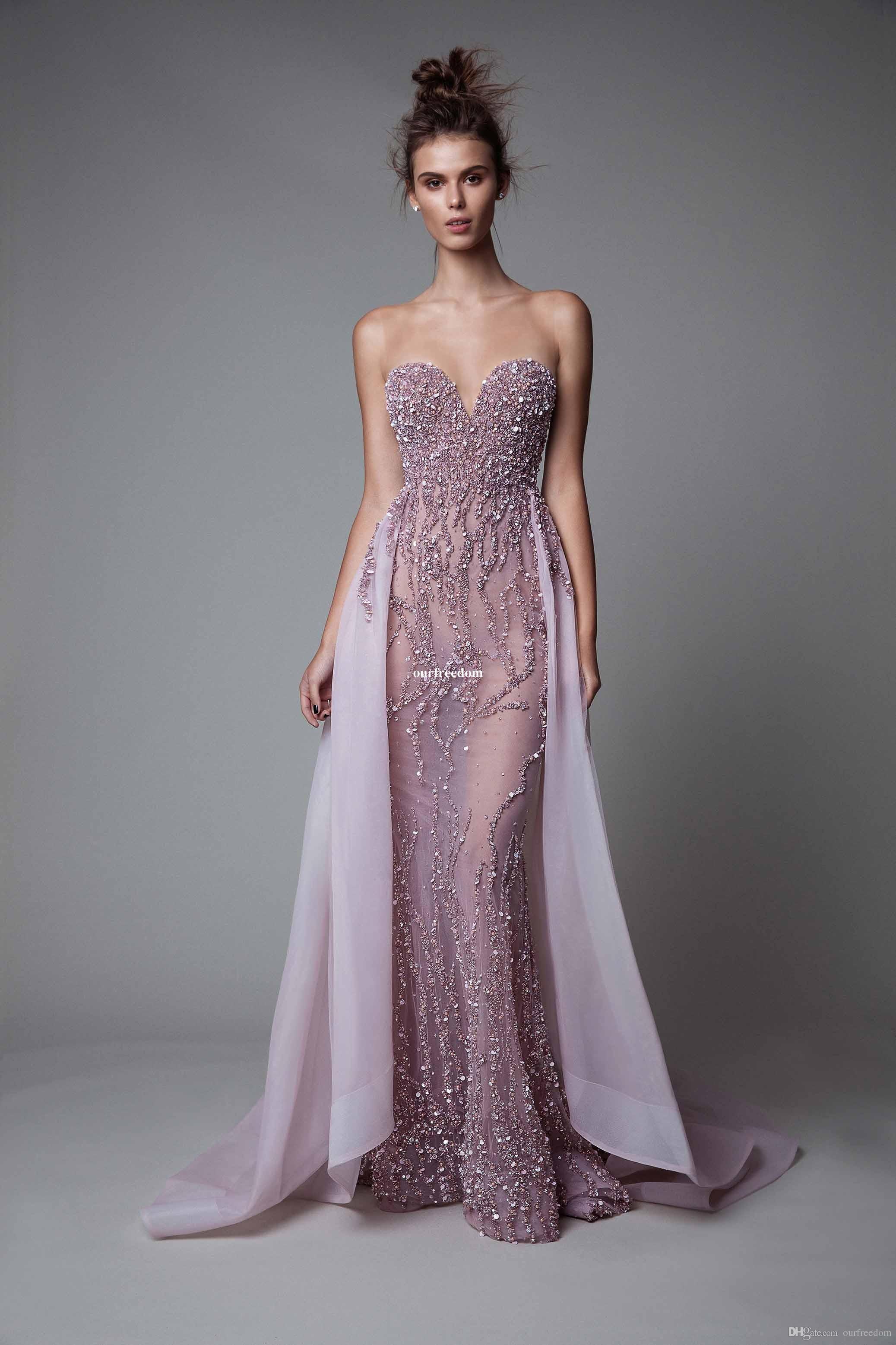 2019 Berta nouvelle collection robes de bal lavande chérie perles lourdes cristal détachable train sexy dos nu formelle robe de soirée
