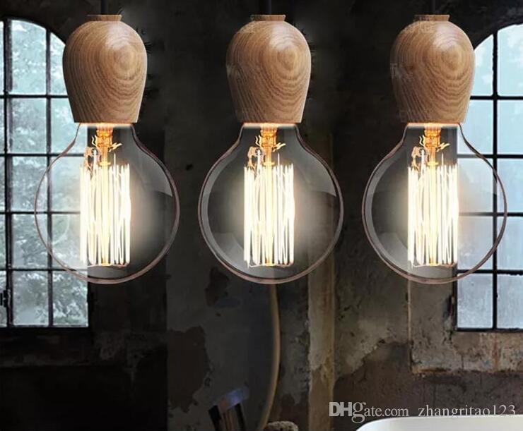 Discount Single Head Vintage Industrial Pendant Lamp Simple Woodren Lights For Diningroom Edison Bulb Light Fixtures Home Lighting Kitchen