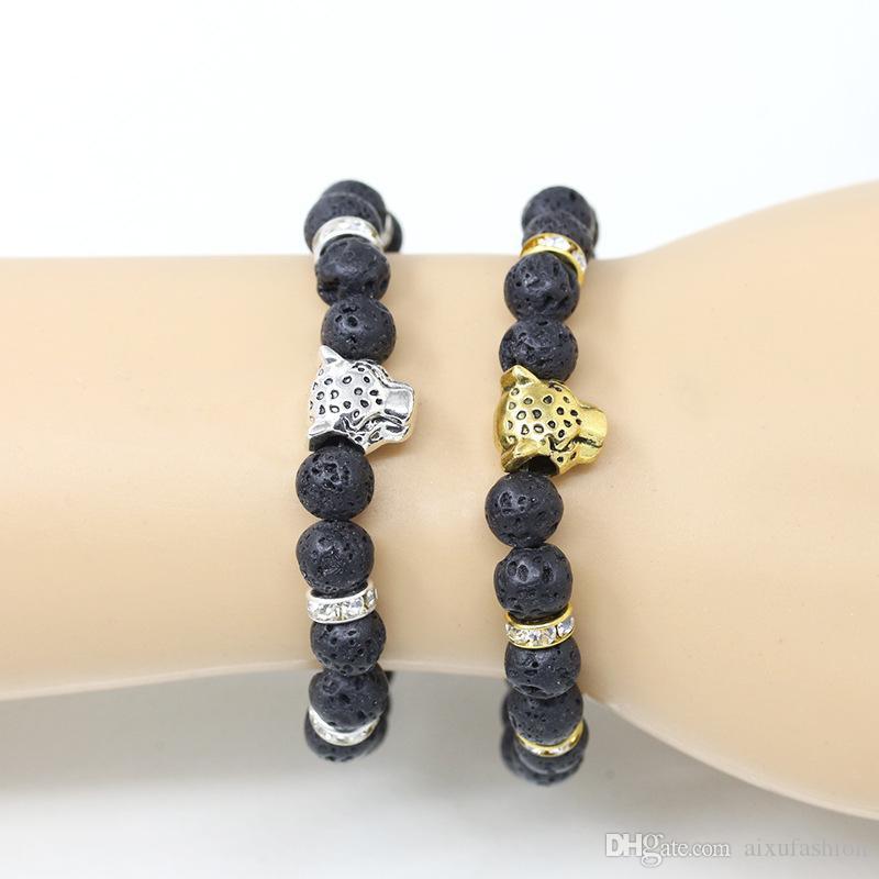 Pulseras de los hombres de piedra natural Lava Gold Silver Leopard Lion Head pulsera con cuentas para la joyería del brazalete del regalo del aniversario