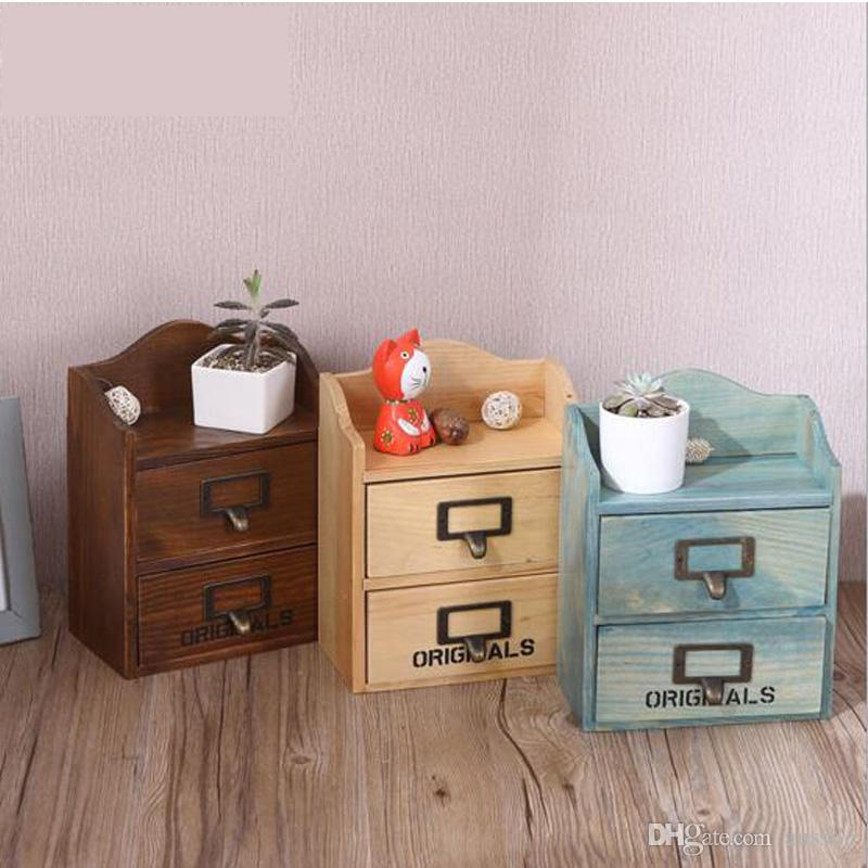 2018 The New Desktop Storage Cabinet Household Items Wooden Finishing Locker Drawer Vintage Style Bopackage Mail From Aussllo 49 25 Dhgate