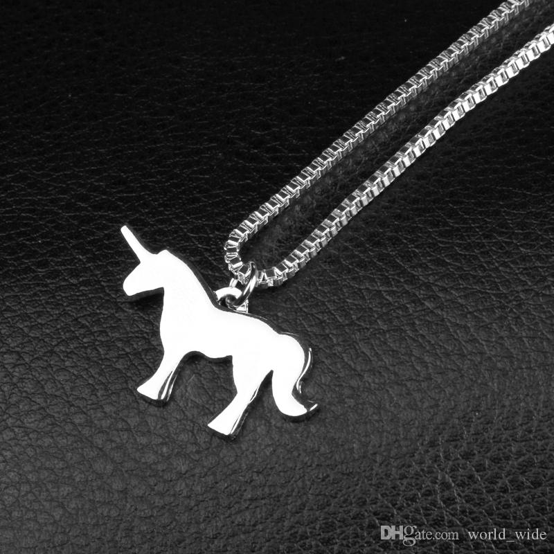 Animal Memorial Jewelry Gift For Pet Lovers Alloy Unicorn Horse Pendant Necklace Birthday Gift Jewelry for Girls