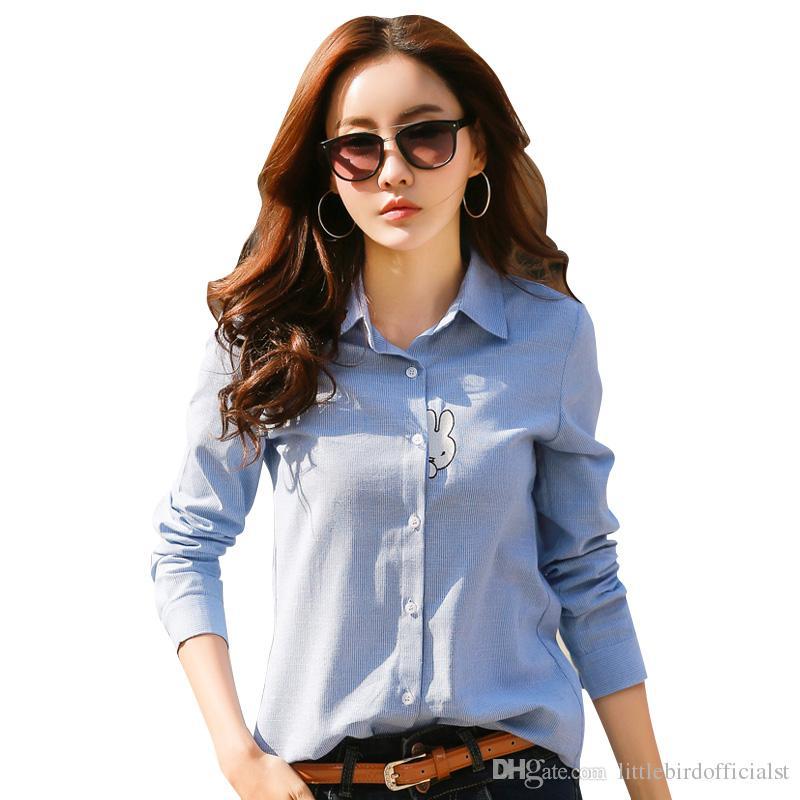 6106b5e1a15b Blusa Elegante Camisa Azul Tallas para Mujeres S-2XL Camisas de Oficina  para Damas Blusa 100% Algodón Formal Casual Moda Blusas Femininas
