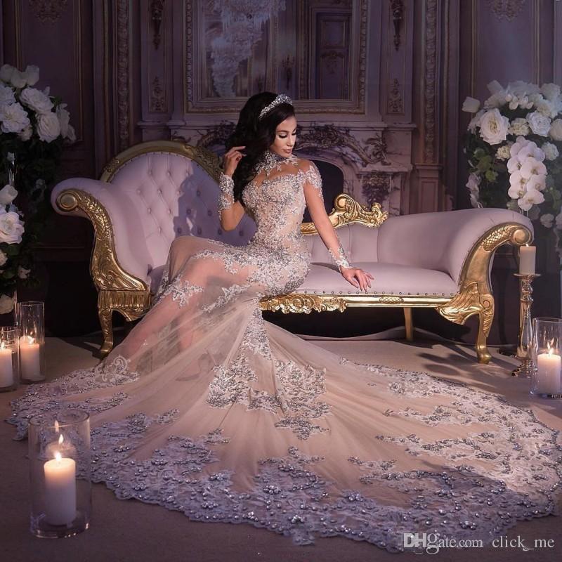 Wunderschöne High Neck Long Sleeves Brautkleider Sheer Ausschnitt Durchsichtig Mermaid Brautkleider Spitze Appliques Perlen Pailletten Brautkleid