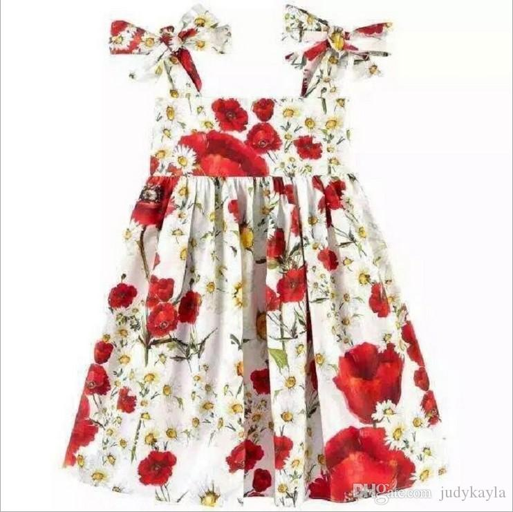 2017 New Summer Girls Floral Suspender Dress Girl Flower Printed Princess Dresses Kids Sleeveless Vest Dress Children Cotton Skirts 100-140