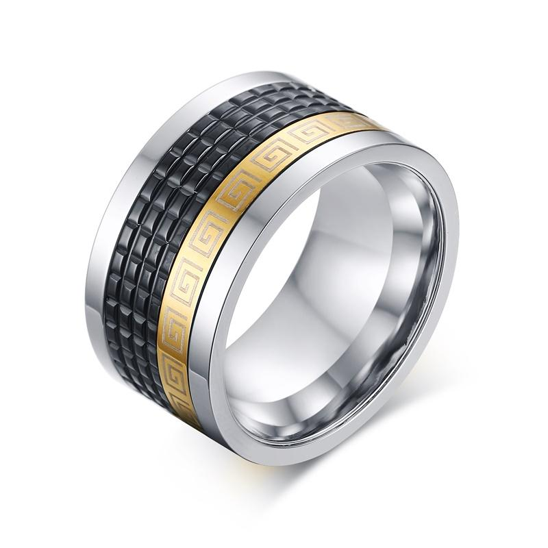 12mm Wide Retro Style Stainless Steel Mens Ring With Greek Key