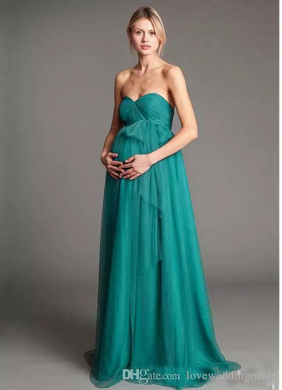Green Chiffon Maternity Prom Dresses 2017 A-line Sweetheart Sash Convertible Style Floor-Length Long Evening Party Gowns