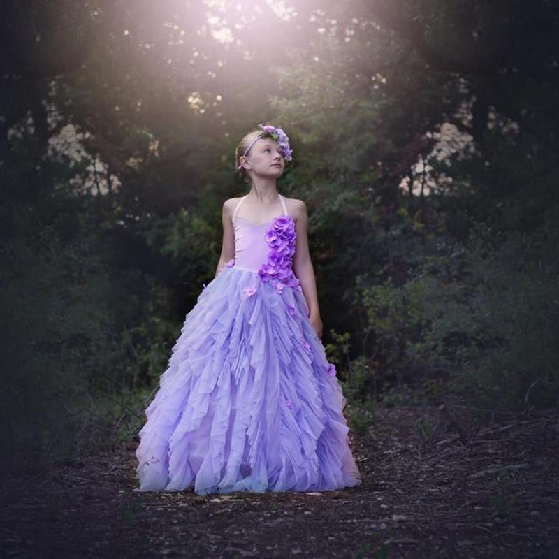 2017 New Arrival Lovely Purple Flower Girl Dresses Spaghetti Multi Layers Hand Made Flower Princess Dress Long Girl's Pageant Dresses