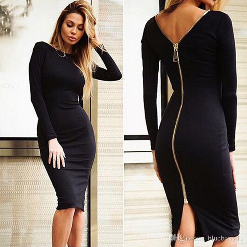 Fashion Black Long Sleeve Party Dresses Women Clothing Back Full Zipper Robe Sexy Femme Pencil Tight Dress