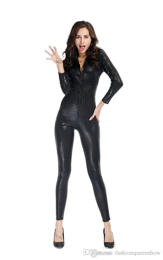 Women Sexy Snake Skin Jumpsuit Faux Leather Catsuit Zipper Front Bodycon Overall Attractive Pole Dance Costume
