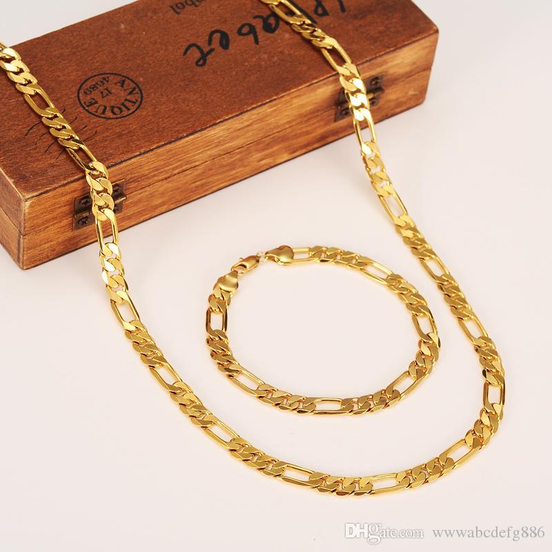 Оптовая классический Фигаро кубинский звено цепи ожерелье браслет наборы 14 K реального твердого золота заполнены меди мода мужчины женщин ювелирные аксессуары